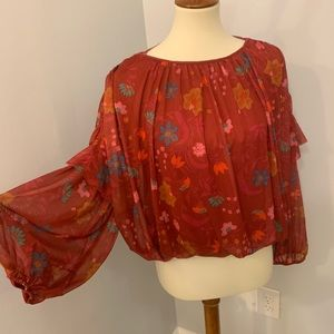 Free People red floral boho cinched blouse